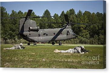 U.s. Soldiers Provide Security Canvas Print by Stocktrek Images