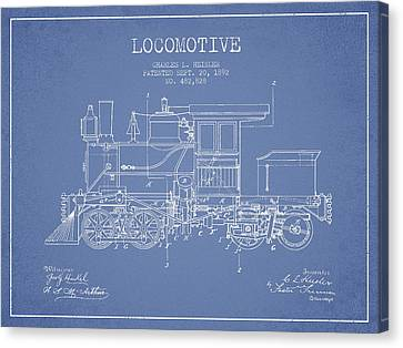 Vintage Locomotive Patent From 1892 Canvas Print