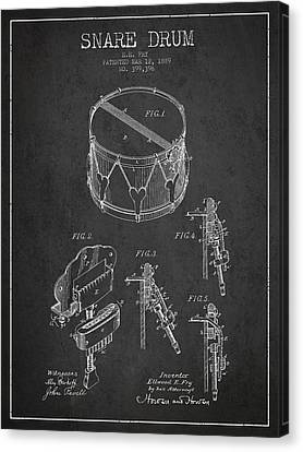 Drummer Canvas Print - Vintage Snare Drum Patent Drawing From 1889 - Dark by Aged Pixel