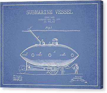 Watercraft Canvas Print - Vintage Submarine Vessel Patent From 1897 by Aged Pixel