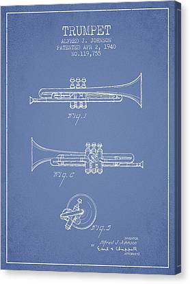 Vintage Trumpet Patent From 1940 - Light Blue Canvas Print by Aged Pixel