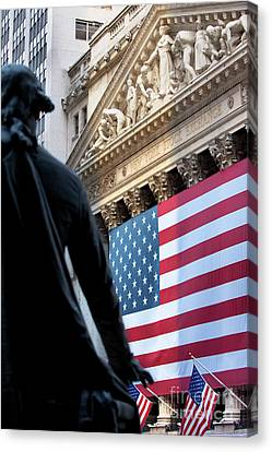 Wall Street Flag Canvas Print by Brian Jannsen