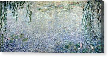 Weeping Willow Canvas Print - Waterlilies Morning With Weeping Willows by Claude Monet