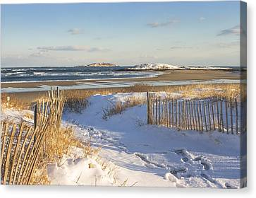 Winter At Popham Beach State Park Maine Canvas Print by Keith Webber Jr