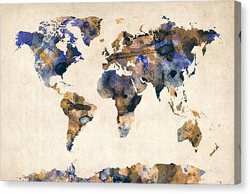 World Map Canvas Print - World Map Watercolor by Michael Tompsett