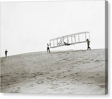 Wright Brothers Kitty Hawk Glider Canvas Print by Library Of Congress