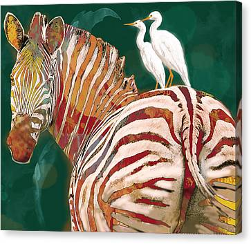 Zebra - Stylised Drawing Art Poster Canvas Print
