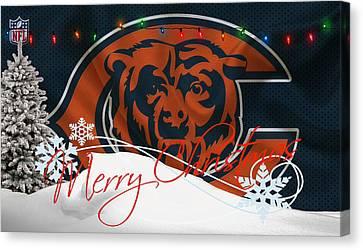 Christmas Greeting Canvas Print - Chicago Bears by Joe Hamilton