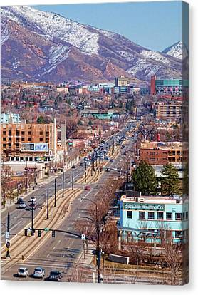 Canvas Print featuring the photograph 400 S Salt Lake City by Ely Arsha