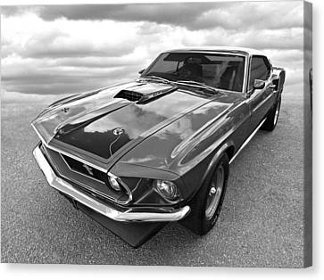 428 Cobra Jet Mach1 Ford Mustang 1969 In Black And White Canvas Print by Gill Billington