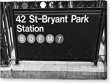 Bryant Canvas Print - 42nd St Bryant Park Station Mono by John Rizzuto
