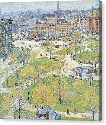 Union Square In Spring Canvas Print by Childe Hassam