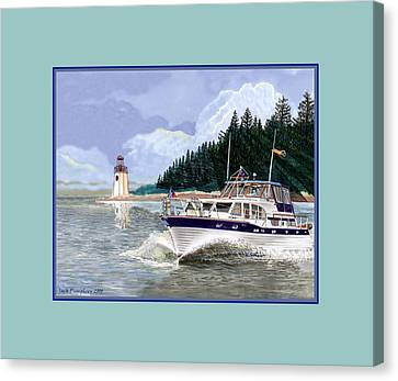 43 Foot Tollycraft Southbound In Clovos Passage Canvas Print by Jack Pumphrey