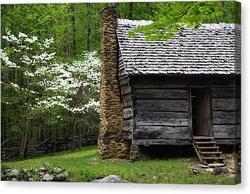 Log Cabin Canvas Print - Usa, Tennessee, Great Smoky Mountains by Jaynes Gallery