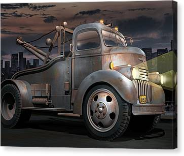 Old Trucks Canvas Print - '46 Chevy Towtruck by Stuart Swartz