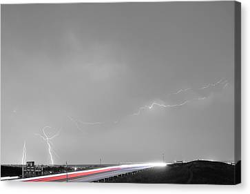 47 Street Lightning Storm Light Trails View Bwsc Canvas Print by James BO  Insogna