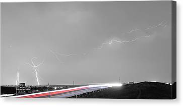 47 Street Lightning Storm Light Trails View Panorama Canvas Print by James BO  Insogna