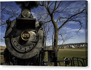 #475 Steam Engine On The Strasburg Rr 04 Canvas Print by Mark Serfass