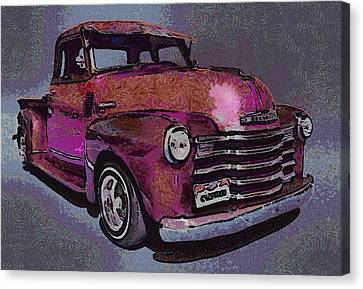 Old Trucks Canvas Print - 48 Chevy Truck Pink by Ernie Echols