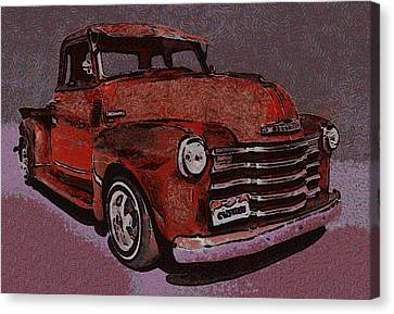 Old Trucks Canvas Print - 48 Chevy Truck Red by Ernie Echols