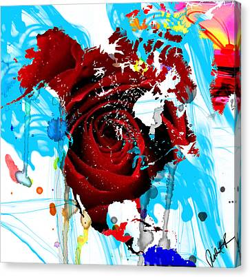 48x46 Beautiful World - Rose Red Signed Art Abstract Paintings Modern  Www.splashyartist.com Canvas Print