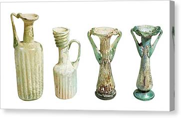4th Century Glass Juglets And Bottles Canvas Print by Photostock-israel