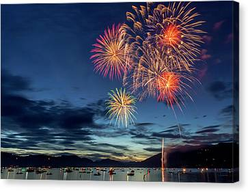 4th Of July Fireworks Celebration Canvas Print by Chuck Haney