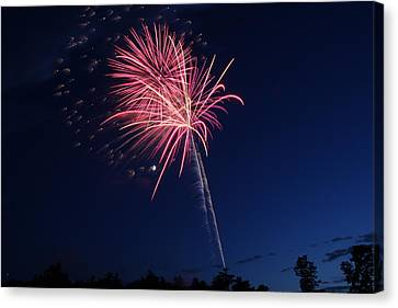 Independance Canvas Print - 4th Of Julyfireworks Colechester Vt by Barretreasures Photography