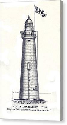 1852 Minot's Ledge Lighthouse Canvas Print