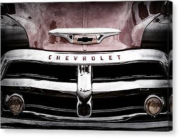 1955 Chevrolet 3100 Pickup Truck Grille Emblem Canvas Print by Jill Reger
