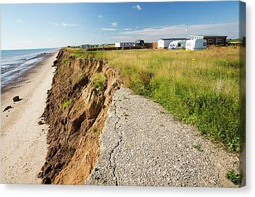 A Collapsed Coastal Road At Skipsea Canvas Print by Ashley Cooper