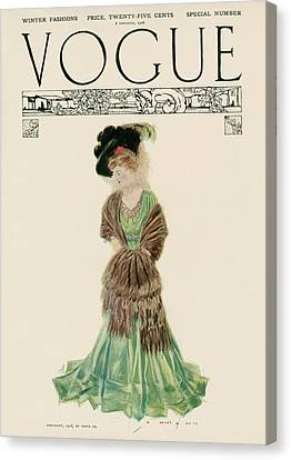 A Vintage Vogue Magazine Cover Of A Woman Canvas Print by Artist Unknown
