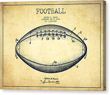 American Football Patent Drawing From 1939 Canvas Print by Aged Pixel
