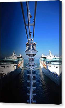 Arriving On A Cruise Ship At Port Canvas Print