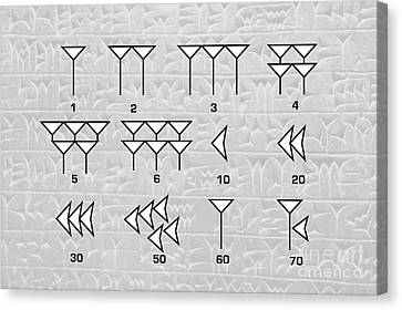 Babylonian Cuneiform Numerals Canvas Print by Sheila Terry