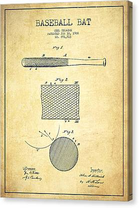 Baseball Bat Patent Drawing From 1904 Canvas Print by Aged Pixel