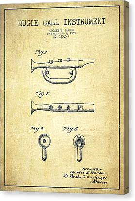 Bugle Call Instrument Patent Drawing From 1939 - Vintage Canvas Print
