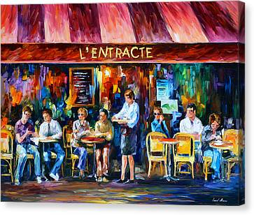 Cafe In Paris Canvas Print by Leonid Afremov