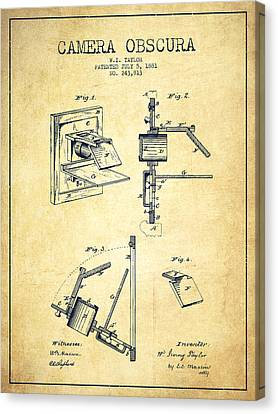 Camera Obscura Patent Drawing From 1881 Canvas Print by Aged Pixel