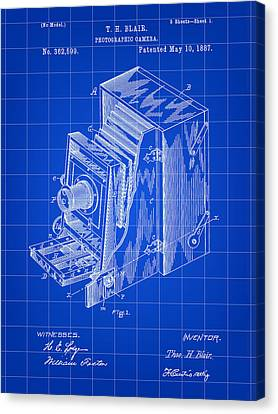 Camera Patent 1887 - Blue Canvas Print