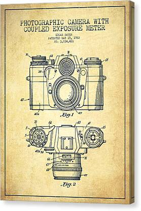 Camera Canvas Print - Camera Patent Drawing From 1962 by Aged Pixel