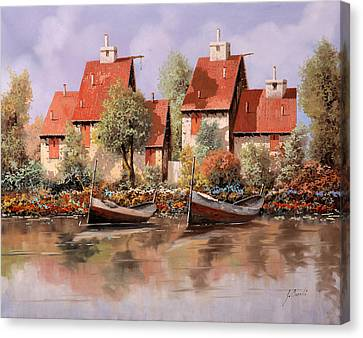 5 Case E 2 Barche Canvas Print by Guido Borelli