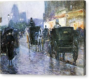 Horse Drawn Cabs At Evening Canvas Print by Childe Hassam