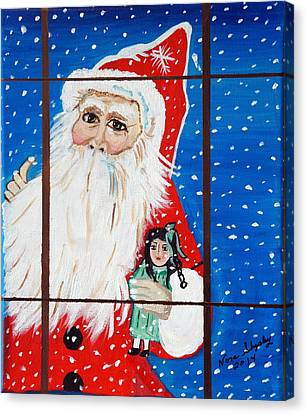 Canvas Print featuring the painting Christmas Card by Nora Shepley