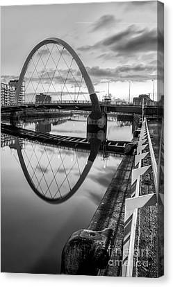Clyde Arc Squinty Bridge Canvas Print by John Farnan