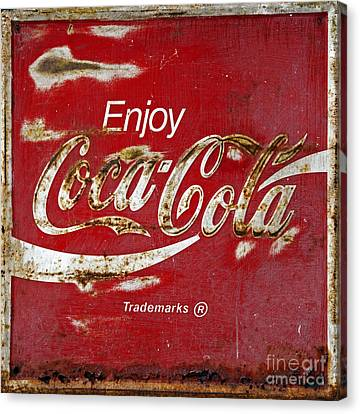 Coca Cola Vintage Rusty Sign Canvas Print by John Stephens
