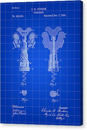Corkscrew Patent 1886 - Blue Canvas Print by Stephen Younts