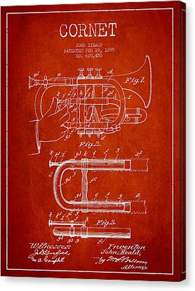 Cornet Patent Drawing From 1899 - Red Canvas Print by Aged Pixel