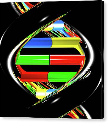 Helical Canvas Print - Dna Molecule by Russell Kightley