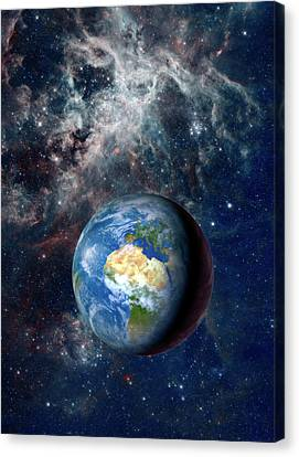 Earth From Space Canvas Print by Detlev Van Ravenswaay